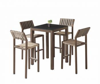 Shop By Category - Outdoor Bar Sets - Amber Bar Set for 4 with Armless Chairs
