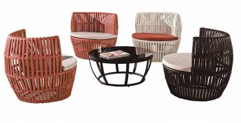 Shop By Category - Outdoor Seating Sets - Apricot Round Seating Set for 4