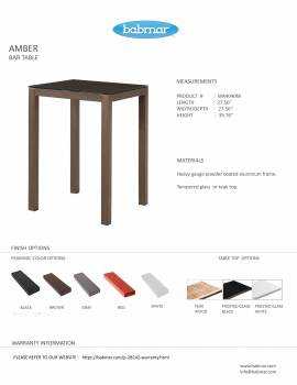 Amber Square Bar Table for 2/4