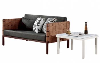 Asthina 2 Seater Sofa with Side Table
