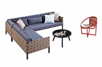 Shop by Category  - Outdoor Seating Sets - Asthina Six seater with a round chair