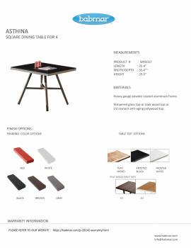 Asthina Square Dining Table for 4 - Image 2