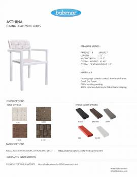 Asthina Dining Set for 2 with Arms