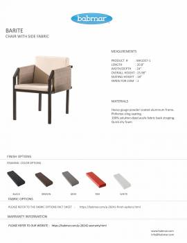 Barite Dining Set For 6 With (Chairs with Side Fabric) - Image 3