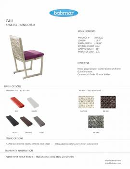 Cali Armless Dining Chair - Image 2