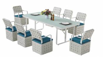 Shop By Category - Outdoor Dining Sets - Edge Dining Set for 8 with woven sides