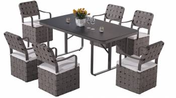Shop By Category - Outdoor Dining Sets - Edge Dining Set for 6 with woven sides