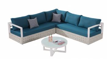 Shop by Category  - Outdoor Seating Sets - Edge Sectional Sofa Set for 5 with Round Coffee Table