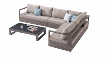 Shop by Category  - Outdoor Seating Sets - Edge Sectional Sofa Set for 6 with Coffee Table