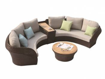 Shop By Collection - Evian Collection - Evian Curved 4 Seater Sofa Set with built-in Side Table