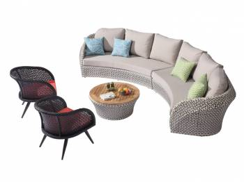 Shop by Category  - Outdoor Seating Sets - Evian Curved 6 Seater Sofa Set with 2 Chairs