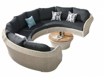 Shop by Category  - Outdoor Seating Sets - Evian Curved 6 Seater Sofa Set with coffee table