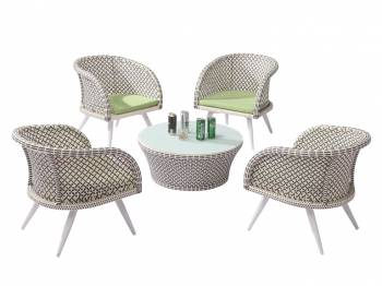 Shop By Collection - Evian Collection - Evian Set of 4 Chairs with Woven Sides with Coffee table