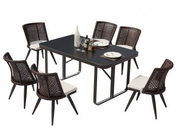 Shop By Category - Outdoor Dining Sets - Evian Small Armless Dining Set for 6