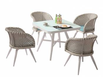 Shop by Category  - Outdoor Dining Sets - Evian Square Dining Set for 4 with Woven Sides
