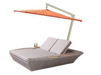 Shop By Collection - Evian Collection - Evian Double Chaise Lounge with Umbrella Canopy