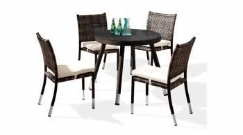 Shop By Category - Outdoor Dining Sets - Fatsia Dining Set for 4 with Round Table and Armless Chairs