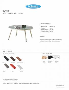 Fatsia Round Dining Table for 6