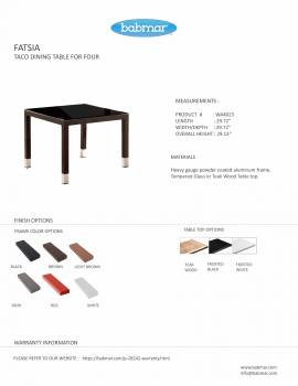 Fatsia Dining Table for 4