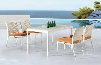 Fatsia Dining Set for 4 with Rectangular Table and Armless Chairs