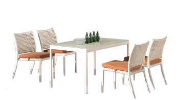 Shop By Category - Outdoor Dining Sets - Fatsia Dining Set for 4 with Rectangular Table and Armless Chairs