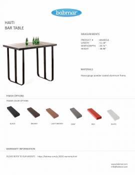 Haiti Bar Table for 4
