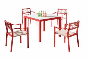 Shop By Collection -  Hyacinth Collection  - Hyacinth Dining Set for 4 with Arms