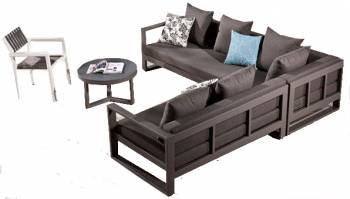 Shop by Category  - Outdoor Seating Sets - Amber Sectional Sofa Set for 6 with chair and coffee table