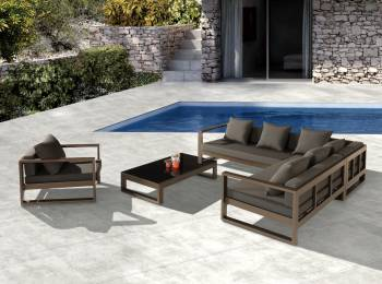 Amber Outdoor Sectional Set with Club Chair - QUICK SHIP - Image 2