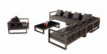 Amber Sectional Sofa Set for 8 with Club Chair - QUICK SHIP