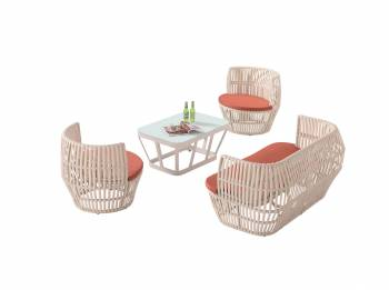 Shop by Category  - Outdoor Seating Sets - Apricot Loveseat Set with 2 Round Chairs
