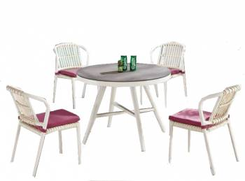 Kitaibela Armless Dining Set for Four with Round Table - Image 1
