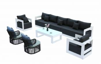 Shop By Category - Babmar - Lusso Sofa Set With Venice Rounded Rope Chairs