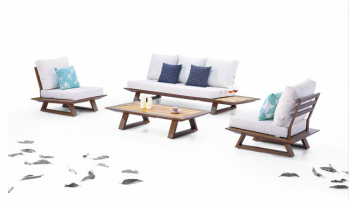 Luxe Loveseat Set With Built-In Side Tables And Two Club Chairs - Image 2