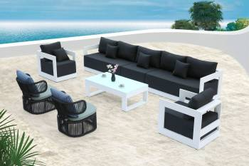 Babmar - Lusso Sofa Set With Venice Rounded Rope Chairs - Image 2