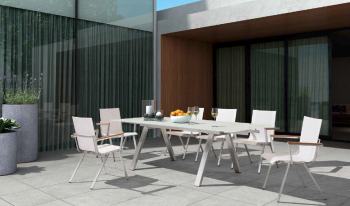 Shop By Collection - Stainless Steel Batyline Mesh Collection - Babmar - Mantano Dining Set For 6