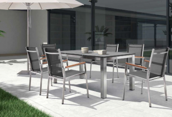 Shop By Collection - Stainless Steel Batyline Mesh Collection - Babmar - Talos Dining Set For 6