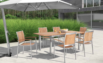 Shop By Collection - Stainless Steel Teak Collection - Babmar - Sunny Dining Set For 6 With Extendable Table
