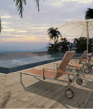Shop By Collection - Stainless Steel Teak Collection - Babmar - Sunny Chaise Lounge With Arms
