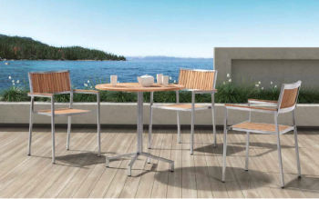 Shop By Collection - Stainless Steel Teak Collection - Babmar - Sunny Round Bistro Dining Set For 2