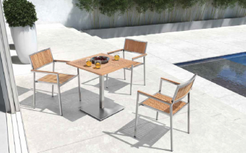 Shop By Collection - Stainless Steel Teak Collection - Babmar - Sunny Squared Bistro Dining Set For 2