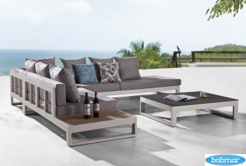 Amber Sectional Sofa Set for 5 With Built-In Side Table - Image 2