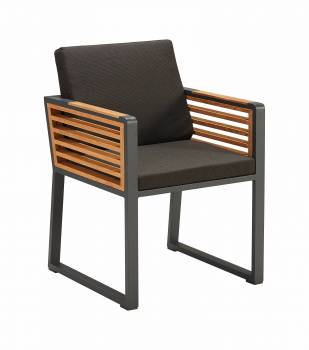 Shop By Collection - Avant Collection - Babmar - AVANT DINING CHAIR WITH ARMS AND TEAK SIDE PANELS