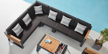 "Shop By Category - Outdoor Seating Sets - Babmar - Avant Six Seater ""L"" Shape Sectional Set"