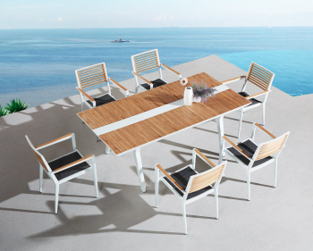 Babmar - Serene Dining Set For 6 with Teak Top