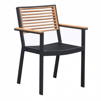 Babmar - Avant Dining Set For 4 (Stackable Chairs/Table With Teak Top/ Umbrella Hole) - Image 3