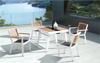 Babmar - Avant Dining Set For 4 (Stackable Chairs/Table With Teak Top/ Umbrella Hole) - Image 2