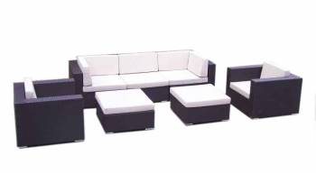 Shop By Category - Outdoor Seating Sets - Babmar - Swing 46 Modular Sectional Sofa Set for 5 with 2 club chairs