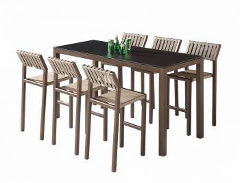 Shop By Category - Outdoor Bar Sets - Amber Bar Set for 6 with Armless Chairs - Quick Ship
