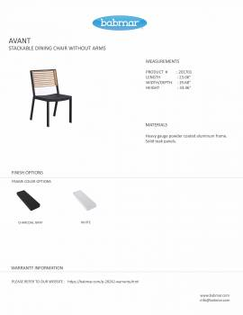 Babmar - Avant Dining Set For 4 (Stackable Chairs/Table With Teak Top/ Umbrella Hole) - Image 5